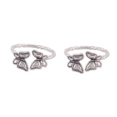 Sterling silver toe rings, 'Butterfly Meeting' (pair) - Twisted Toe Rings with Butterfly Accents from India (Pair)