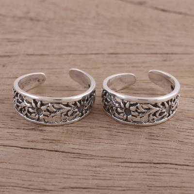 Sterling silver toe rings, Jali Flower (pair)