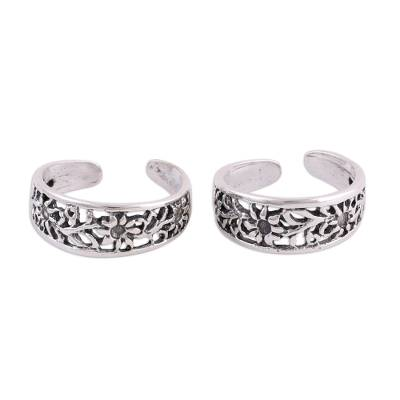 Sterling Silver Toe Rings with Floral Motifs (Pair)