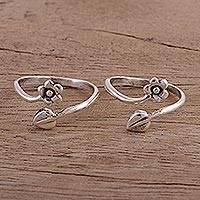 Sterling silver toe rings, 'Flower and Leaf' (pair) - Unique Toe Rings with Flower Wrap Design (Pair)