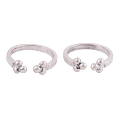 Sterling silver toe rings, 'Rawa Trio' (pair) - Polished Sterling Silver Toe Rings from India (Pair)