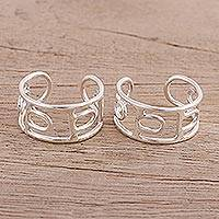Sterling silver toe rings, 'Glyph' (pair) - Artisan Crafted Sterling Silver Toes Rings (Pair)