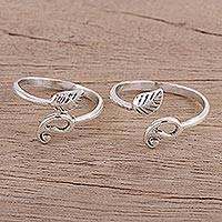 Sterling silver toe rings, 'Paisley and Leaf' (pair) - Pair of Sterling Toe Rings with Paisley and Leaf Motifs
