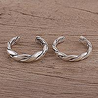 Sterling silver toe rings, 'Simple Braid' (pair) - Braided Sterling Silver Toes Rings from India (Pair)