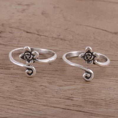 Sterling silver toe rings, 'Flower and Swirl' (pair) - Flower Motif Toe Rings Handmade in Sterling Silver (Pair)