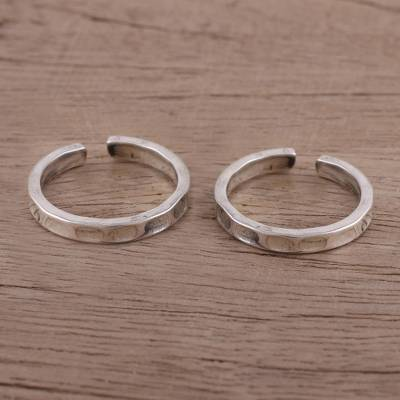 Sterling silver toe rings, 'Dimple' (pair) - Lightly Oxidized Sterling Silver Toe Rings (Pair)