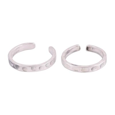 Sterling silver toe rings, 'Dimple' (pair) - Lightly Oxidized Sterling Silver Toe Rings (Pair)