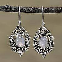 Rainbow moonstone dangle earrings, 'Majestic Circles' - Rainbow Moonstone and Sterling Silver Earrings from India