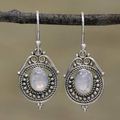 Rainbow moonstone dangle earrings, Majestic Circles