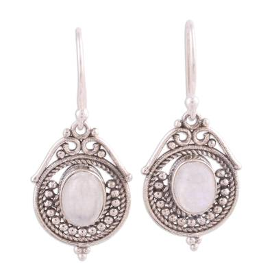 Rainbow Moonstone and Sterling Silver Earrings from India