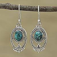Sterling silver dangle earrings, 'Majestic Ovals' - Oval Silver and Composite Turquoise Earrings from India