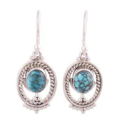 Oval Silver and Composite Turquoise Earrings from India
