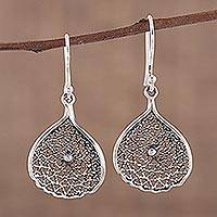 Sterling silver dangle earrings, 'Web of Desire' - Web-Like Sterling Silver Dangle Earrings from India