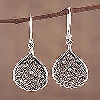 Sterling silver dangle earrings, 'Web of Desire' - Web-Like Sterling Silver Dangle Earrings from India