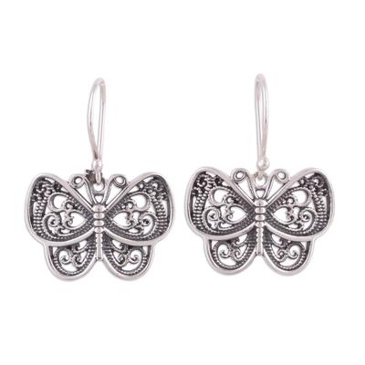 Sterling silver dangle earrings, 'Darling Butterflies' - Ornate Sterling Silver Butterfly Dangle Earrings