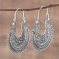 Sterling silver hoop earrings, 'Paisley Delight' - Oxidized Sterling Silver Paisley Motif Hoop Earrings