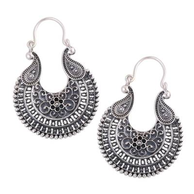 Sterling silver hoop earrings, 'Paisley Delight' - Oxidized Sterling Silver Paisley Motif Hoop Earrings