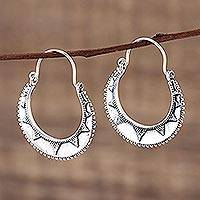 Sterling silver hoop earrings, 'Sunbeam' - Fair Trade Indian Style Sterling Silver Hoop Earrings
