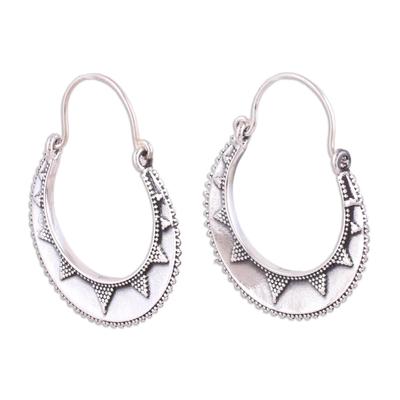 Sterling silver hoop earrings, 'Sunbeam' - Fair Trade Indian Style Sterling Silver Hoop Earrings