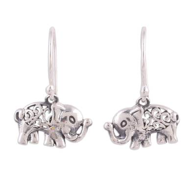 Sterling silver dangle earrings, 'Elephant Appeal' - Jali Motif Sterling Silver Elephant Dangle Earrings