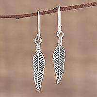 Sterling silver dangle earrings, 'Trailing Leaf' - Realistic Sterling Silver Leaf Dangle Style Earrings