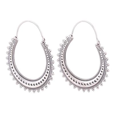 Sterling silver hoop earrings, 'Majestic Sunshine' - Pretty Indian Style Sterling Silver Hoop Earrings
