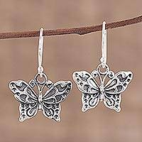 Sterling silver dangle earrings, 'Dancing Butterfly' - Detailed Sterling Silver Butterfly Motif Dangle Earrings
