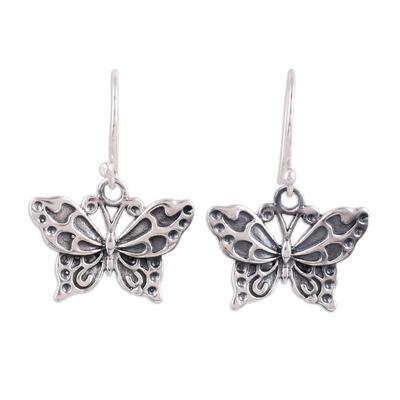 Sterling silver dangle earrings, 'Dancing Butterfly' - Detailed Sterling Silver Butterfly Motif Dangle Earrings