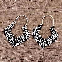 Sterling silver hoop earrings, 'Mughal Reverie' - Ornate Sterling Silver Geometric Hoop Earrings