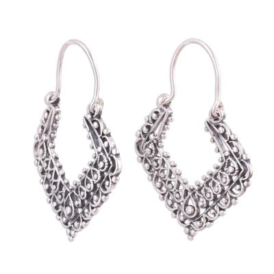 Sterling silver hoop earrings, 'Mughal Reverie' - Ornate Sterling Silver Geometric Hoop Earrings