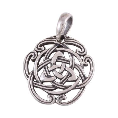 Sterling silver pendant, 'Celtic Reverie' - Celtic Knot Sterling Silver Pendant from India Artisan