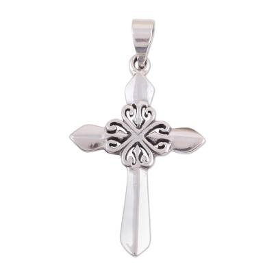 Sterling silver cross pendant, 'Heart of Faith' - Polished Sterling Silver Cross Pendant with Heart Motifs