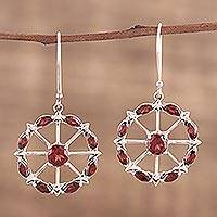 Garnet dangle earrings, 'Red Wheels' - Circular Garnet Earrings from India