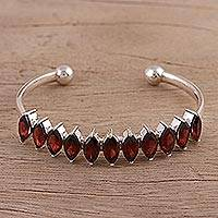 Garnet cuff bracelet, 'Dainty Red' - Garnet and Silver Cuff Bracelet from India