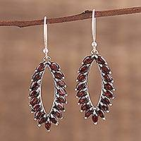 Garnet dangle earrings, 'Red Fronds' - Marquise Garnet Earrings from India