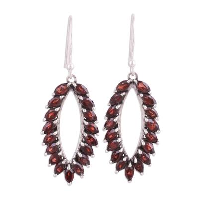 Garnet dangle earrings, 'Red Fronds' - Marquise Garnet Earrings from India