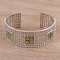 Peridot cuff bracelet, 'Shining Mesh' - Peridot Cuff Bracelet from India