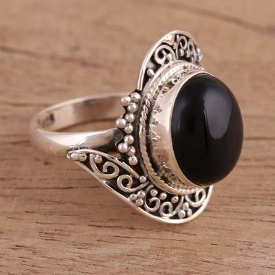 daisy silver ring finger - Handcrafted Black Onyx Cocktail Ring from India