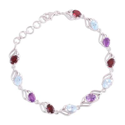 Rhodium plated multi-gemstone link bracelet, 'Colorful Leaves' - Rhodium Plated Multi-Gemstone Link Bracelet from India