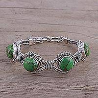 Sterling silver pendant bracelet, 'Heavenly Greens' - India Modern Green Composite Turquoise and Silver Bracelet