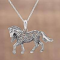 Sterling silver pendant necklace, 'Celtic Pony' - Celtic Knot Motif Sterling Silver Pony Necklace
