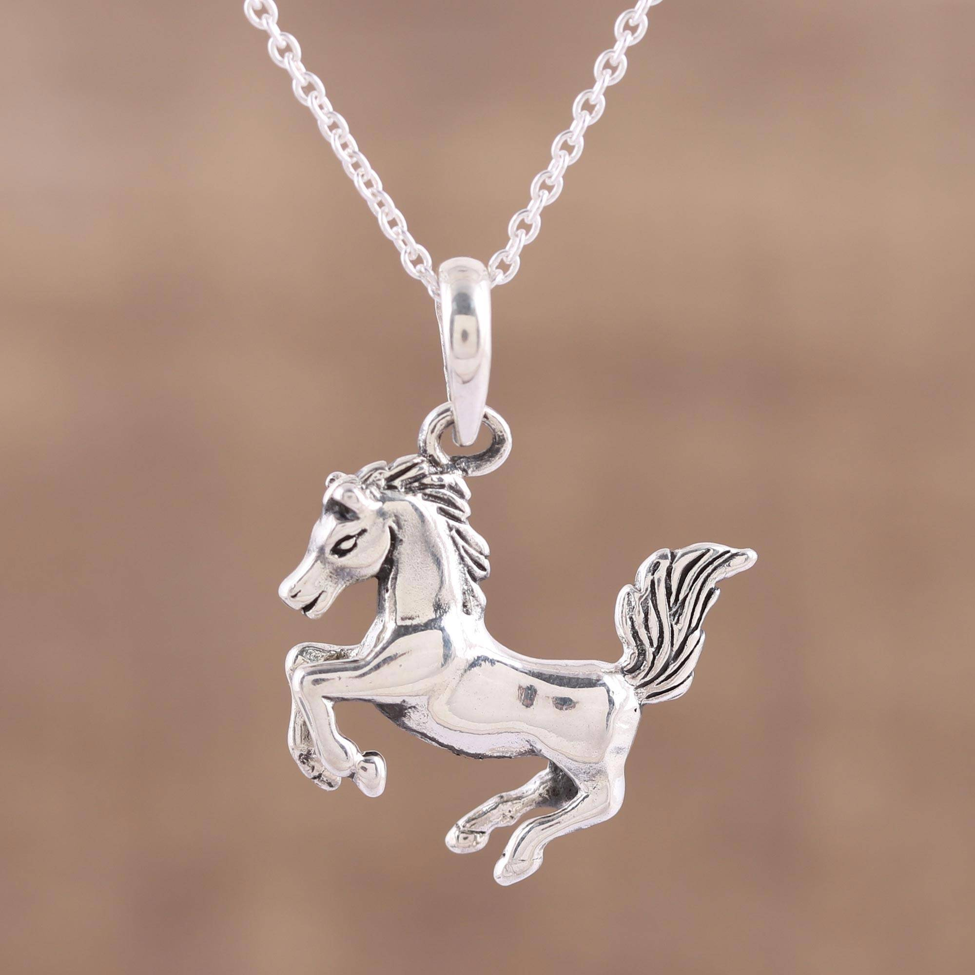 snaffle single p necklace asp bit silver horse
