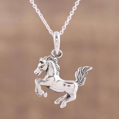 Horse pendant necklace in sterling silver from india prancing sterling silver pendant necklace prancing steed horse pendant necklace in sterling silver mozeypictures Gallery