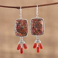 Jasper and carnelian dangle earrings, 'Earthen Depths' - Rectangular Jasper Dangle Earrings with Carnelian Beads