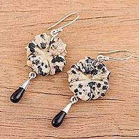 Jasper and onyx dangle earrings, 'Spotted Allure' - Dalmatian Jasper and Onyx and Silver Dangle Earrings