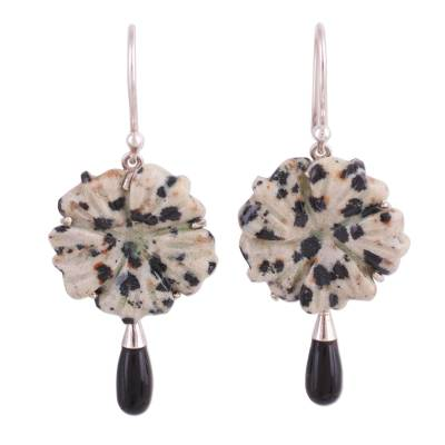Dalmatian Jasper and Onyx and Silver Dangle Earrings
