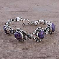 Sterling silver pendant bracelet, 'Heavenly Violets' - India Purple Composite Turquoise and 925 Silver Bracelet