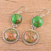 Unakite dangle earrings, 'Forest Muse' - Pink and Green Unakite and Silver Dangle Earrings