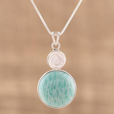 Amazonite and agate pendant necklace, 'Shy Rose' - White Agate and Amazonite Rose Pendant Necklace