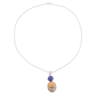 Bumblebee Jasper and Lapiz Lazuli Rose Necklace
